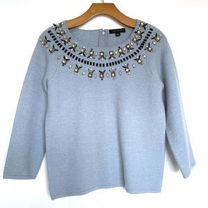 Ann Taylor | Embellished Merino Wool Blue Sweater